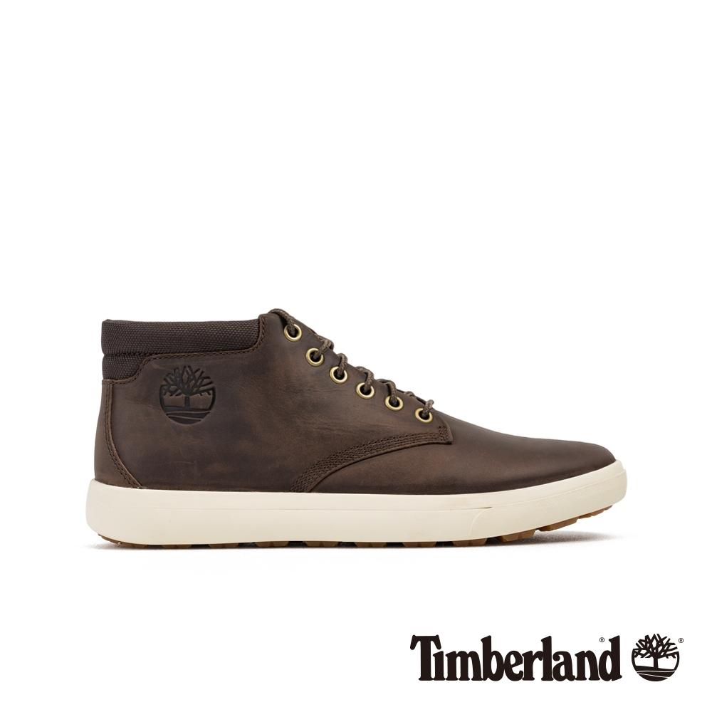 Timberland 男款深棕色全粒面革休閒鞋 A23U9