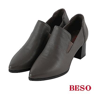 BESO 經典再現 尖頭樂福粗跟鞋~灰