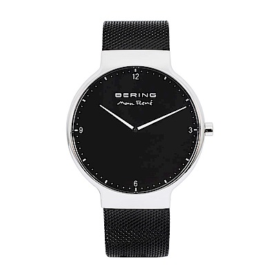 BERING-MAX RENE設計師聯名款 黑錶盤x黑銀 米蘭錶帶40mm