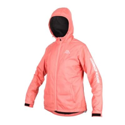 KAPPA 女 單層刷毛裡連帽外套 粉橘白