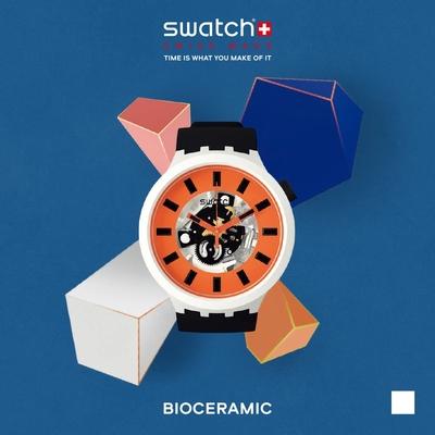 SWATCH 生物陶瓷 BIG BOLD系列手錶 ORACK 活力黑-47mm
