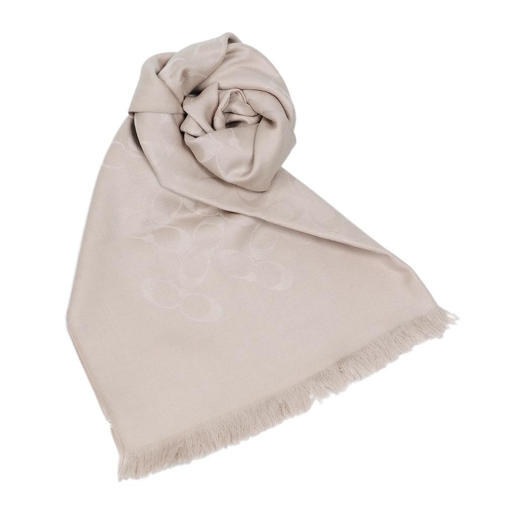 COACH 經典滿版LOGO羊毛混絲針織披肩圍巾 燕麥色