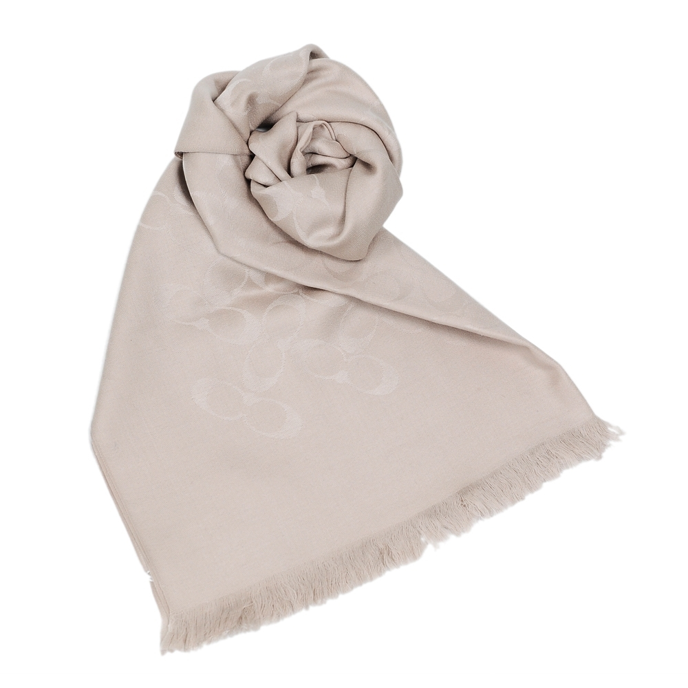 COACH 經典滿版LOGO羊毛混絲披肩圍巾(多色可選)