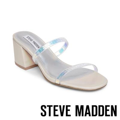 STEVE MADDEN-ISSY 微心機二字細帶粗跟涼拖鞋-銀白