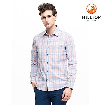 【hilltop山頂鳥】男款吸濕快乾抗UV長袖襯衫S05M65橘藍格紋