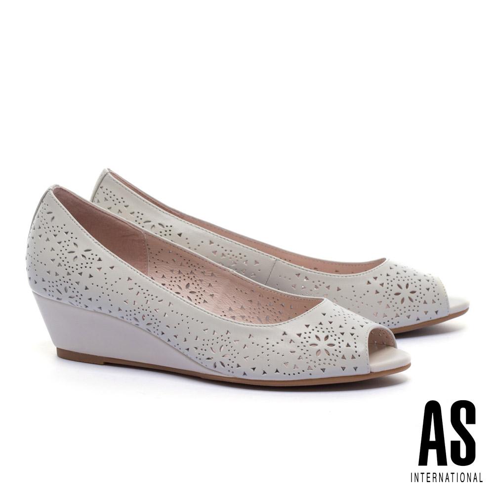 高跟鞋 AS 細緻優雅沖孔羊皮魚口楔型高跟鞋-米