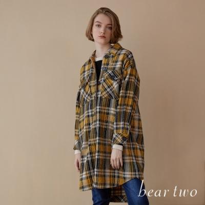 beartwo-經典長版格紋襯衫式外套(兩色)