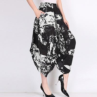 La Belleza黑白潑墨水彩畫棉麻休閒垂墬感闊腿褲燈籠褲