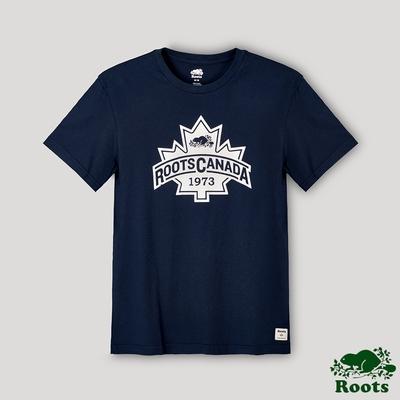 Roots男裝-經典楓葉短袖T恤-藍色