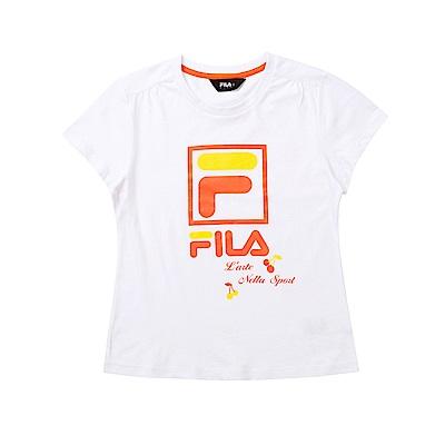 FILA KIDS 童短袖純棉圓領上衣-白色 5TET-4912-WT