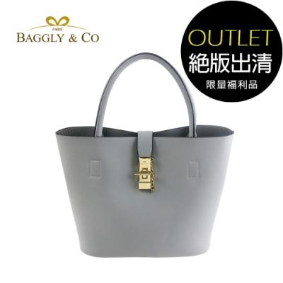 [福利品]【BAGGLY&CO】香榭夢幻托特水桶包(灰藍)(絕版出清)