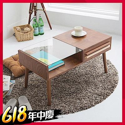 Home Feeling 雙色調日系強化玻璃茶几桌(2色)