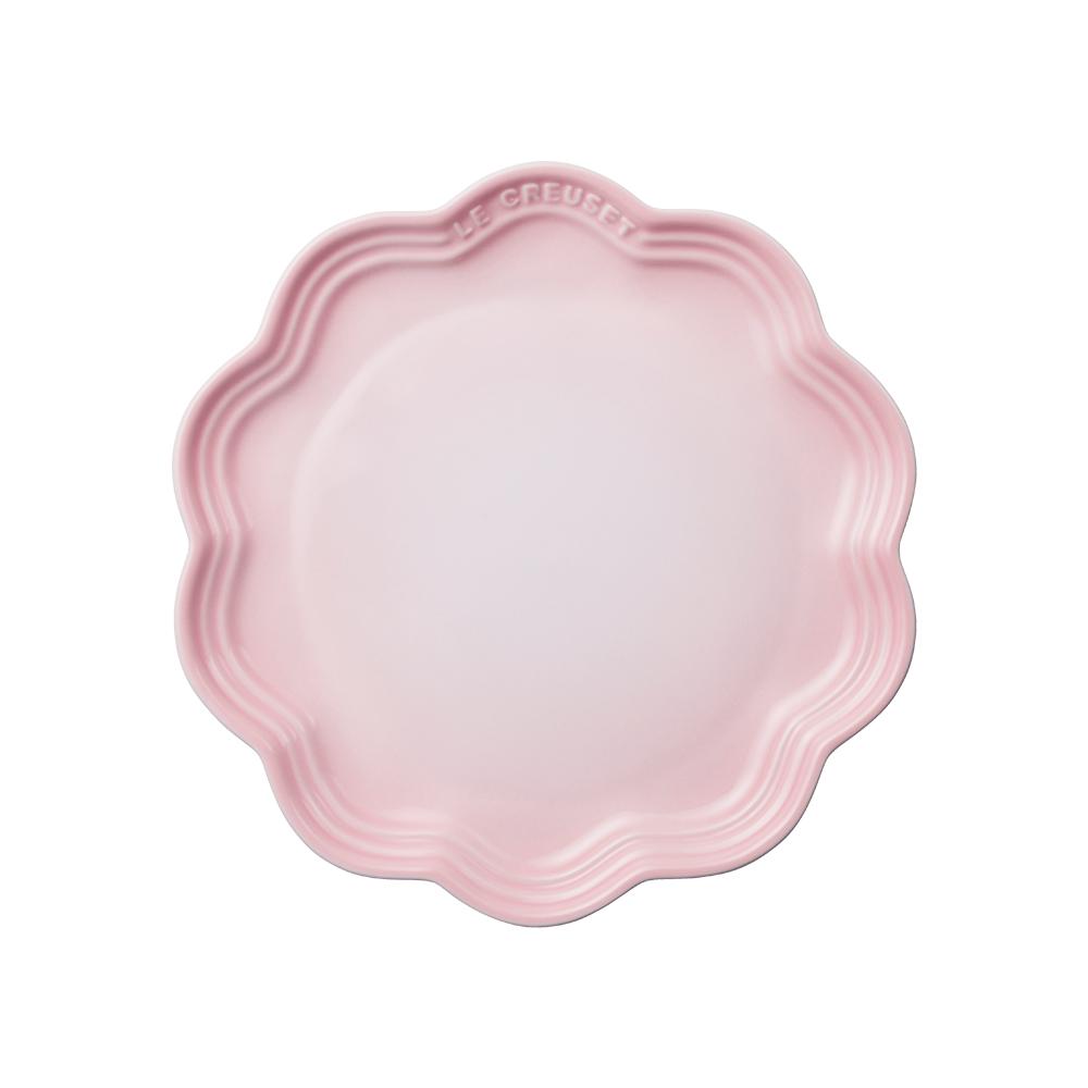 LE CREUSET瓷器蕾絲花邊盤22cm(貝殼粉)