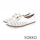 KOKKO - 花見小路真皮雕花綁帶休閒鞋-櫻雪白