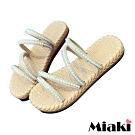 Miaki-拖鞋珍珠細帶平底涼鞋-米