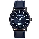 POLICE 簡約質感時尚皮革手錶-深藍X黑/43mm