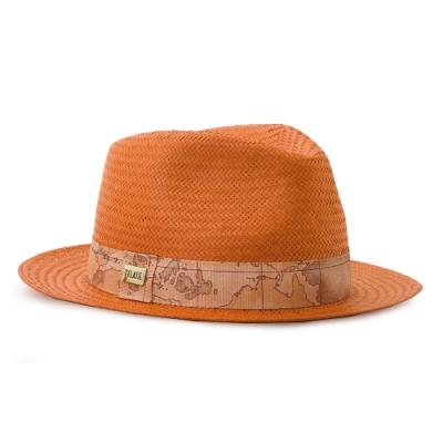 Alviero Martini 義大利地圖包 輕奢質感 經典編織草帽-橘色