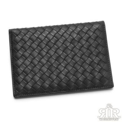 2R 雅緻牛皮 Cross 編織時尚護照夾 星際黑