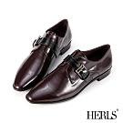 HERLS孟克鞋-全真皮配色橫帶釦環尖頭低跟鞋孟克鞋-酒紅