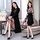 氣質印花洋裝搭大衣套裝-M~2XL(共三色)-SZ