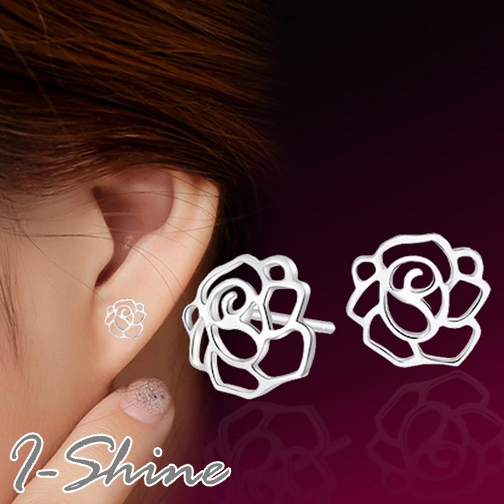I-Shine-正白K-花物語-韓國簍空玫瑰造型銀色耳針耳環DB38