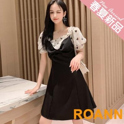 花邊皺褶方領泡泡袖連身裙 (黑色)-ROANN