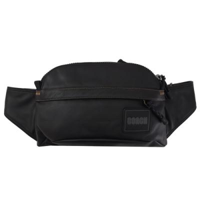 COACH 徽章LOGO牛皮拉鍊腰包/胸口包(黑)