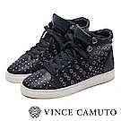 VINCE CAMUTO 搖滾金屬鉚釘綁帶中筒平底鞋-黑色