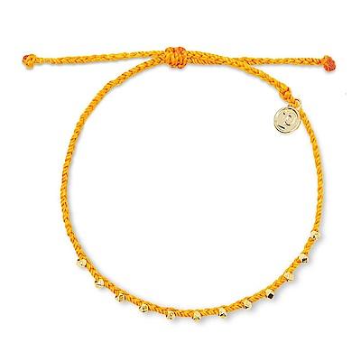 Pura Vida 美國手工 金玲瓏系列 橘色臘線衝浪海灘防水可調整腳鍊