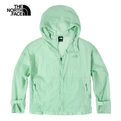 The North Face北面女款淺綠色防潑水防曬連帽防風外套 4UBKWC7