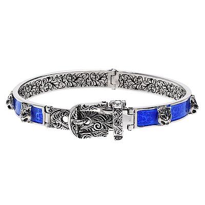 GUCCI 925純銀經典虎頭鑲飾腰帶造型金屬手鐲/手環(藍)