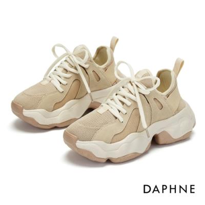 達芙妮DAPHNE  休閒鞋-純色拼接厚底復古老爹鞋-杏