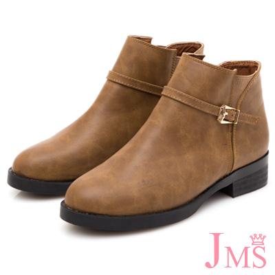JMS-韓風雅緻素面拼接細扣環拉鍊短靴-棕色