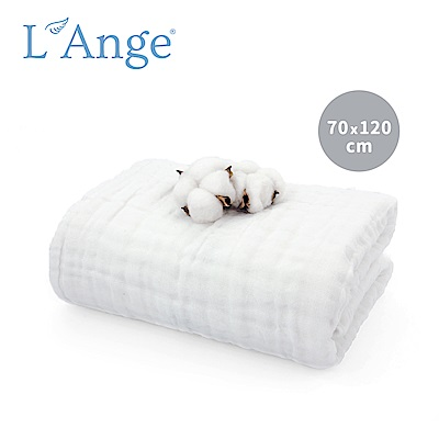 L Ange 棉之境 6層純棉紗布浴巾/蓋毯 70x120cm-白色