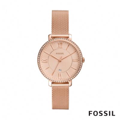 FOSSIL JACQUELINE 玫瑰金鑲鑽米蘭帶女錶 36mm ES4628