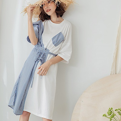 IREAL 條紋配色拼接綁腰調節洋裝