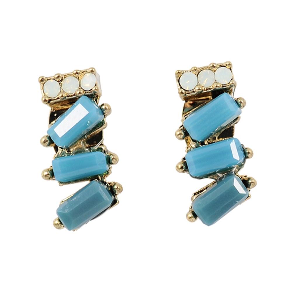 Prisme美國時尚飾品 摯愛藍色寶石 金色耳環 耳針式
