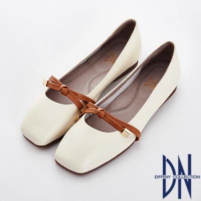 DN 浪漫舞動 真皮結金屬飾釦平底娃娃鞋-米白