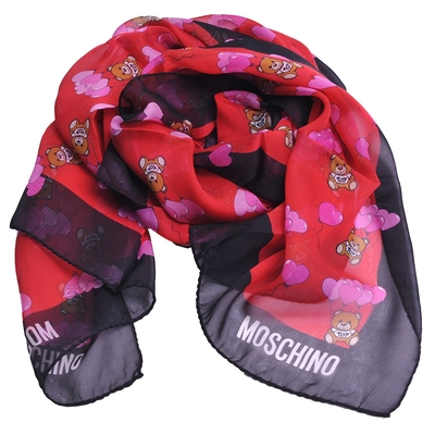 MOSCHINO 義大利製品牌TOY愛心氣球小熊LOGO100%絲質長絲巾(紅/黑)