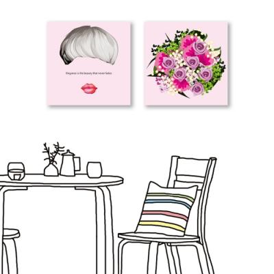 24mama掛畫-二聯式 人物 花卉 玫瑰 文字掛畫 無框畫 40X40cm-優雅