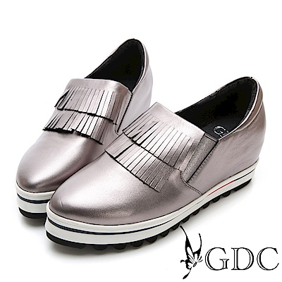 GDC-真皮金屬未來感前衛流蘇微尖頭休閒鞋-灰色