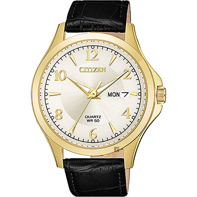 CITIZEN 星辰 經典日曆石英錶-金框x黑/40mm