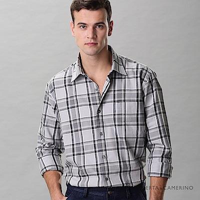 ROBERTA諾貝達 進口素材 台灣製 休閒百搭 純棉格紋長袖襯衫 灰色