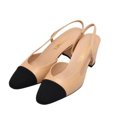 CHANEL 經典Fabric雙C LOGO小牛皮拼接粗跟涼鞋(駝X黑)