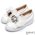 DIANA 網路獨家—漆皮絲綢布珠飾花朵厚底休閒x婚鞋-白