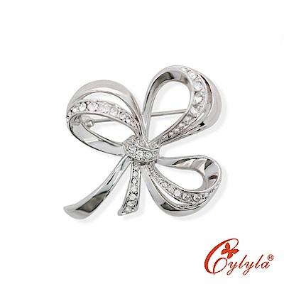 Cylyla思琳娜 同心結愛戀水晶胸針B-8751