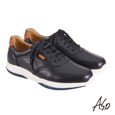 A.S.O 機能休閒 萬步健康鞋 綁帶款休閒鞋-黑