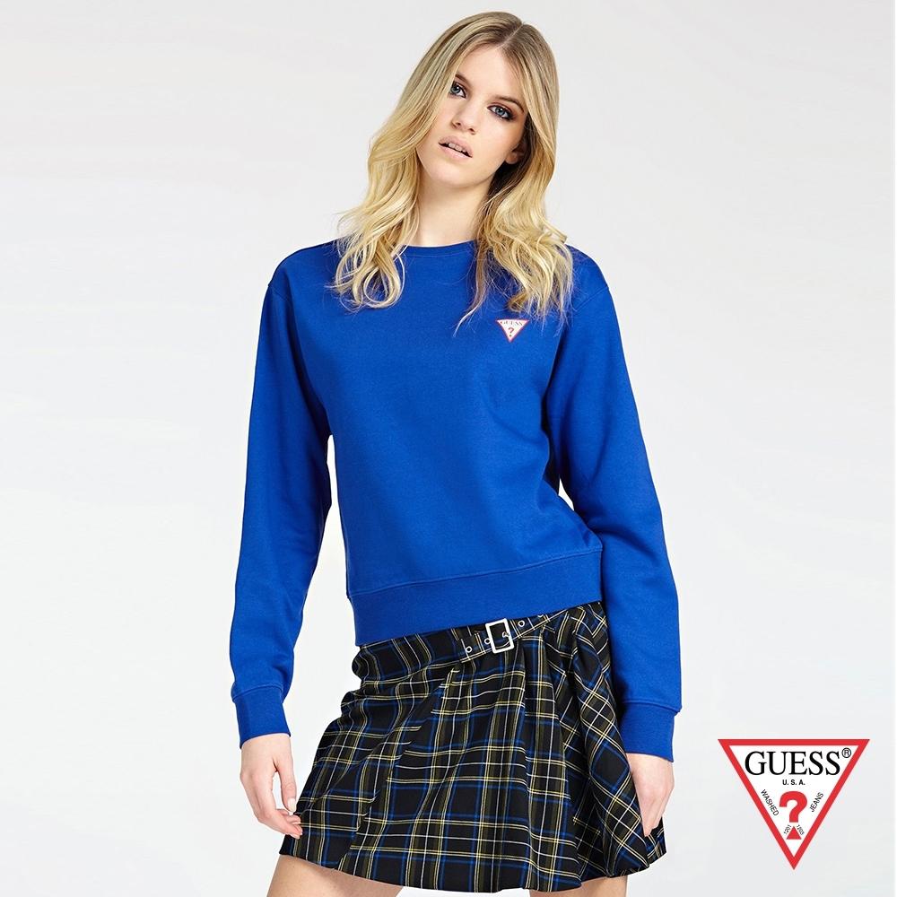 GUESS-女裝-純色落肩長袖上衣-藍 原價1990