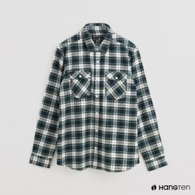 Hang Ten - 男裝 - 北歐風配色格紋長袖襯衫 - 綠