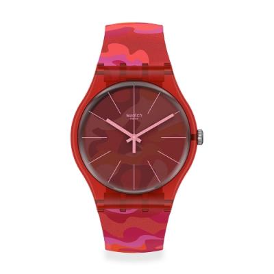 Swatch 原創系列手錶 CAMOUFLASH 迷彩炫麗紅-41mm